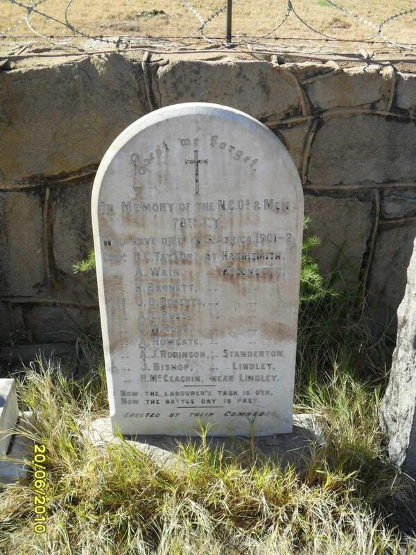 78th LY - NCO's & Men who died in South Africa 1901-1902