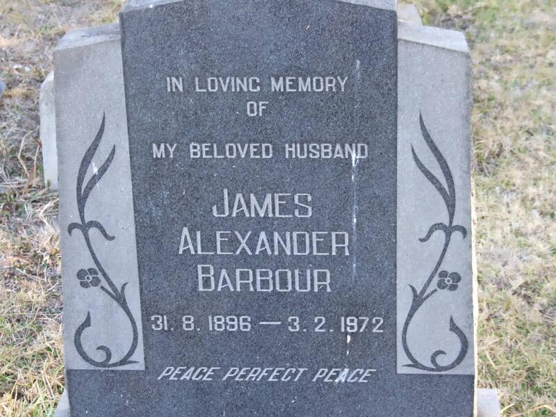 BARBOUR James Alexander 1896-1972