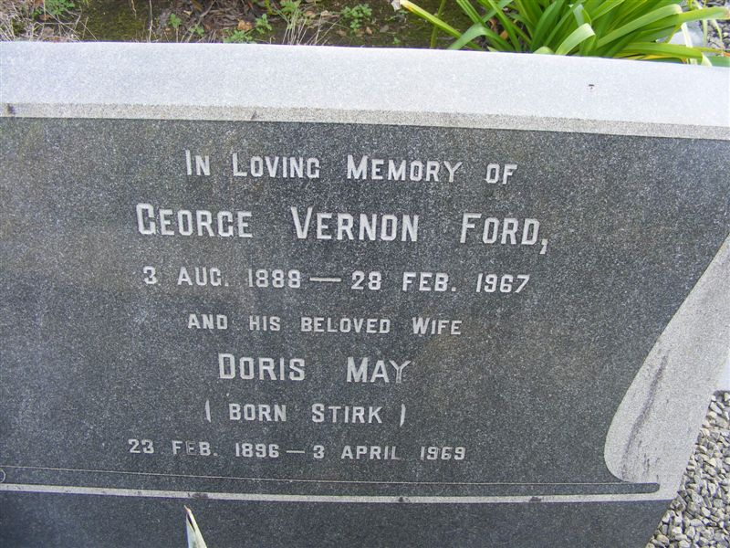FORD George Vernon 1888-1967 & Doris May STIRK 1896-1969