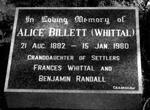 BILLETT Alice nee WHITTAL 1882-1980