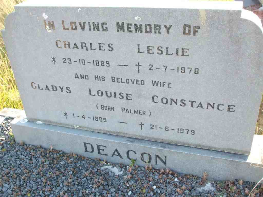 DEACON Charles Leslie 1889-1978 & Gladys Louise Constance PALMER 1889-1979