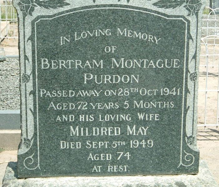 PURDON Bertram Montague -1941 & Mildred May -1949