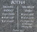 BOTHA Michael Andries 1938-1998 BOTHA Michelle 1968-2008